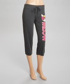 Loving this Charcoal 'Meow' Capri Sweatpants - Women & Plus on #zulily! #zulilyfinds
