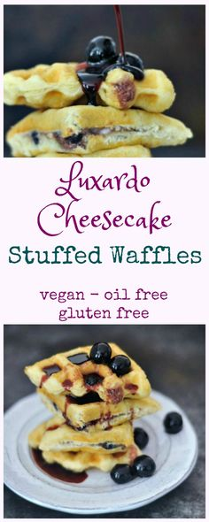 Luxardo Cheesecake Stuffed Waffles @spabettie #vegan #glutenfree #oilfree #brunch #breakfast