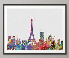 Paris Skyline France illustrations Art Print Wall Wedding Gift Poster Giclee Wall Decor Art Home Decor Wall Hanging No 198 on Etsy, $16.74 CAD
