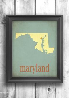 Maryland Print, Map Art Giclee, Typographic print, state poster wall sign choose your color - 11x14 Typography on Etsy, $30.00