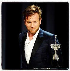 Ewan McGregor receiving the Donostia Award at the San Sebastian Film Festival on Thursday, September