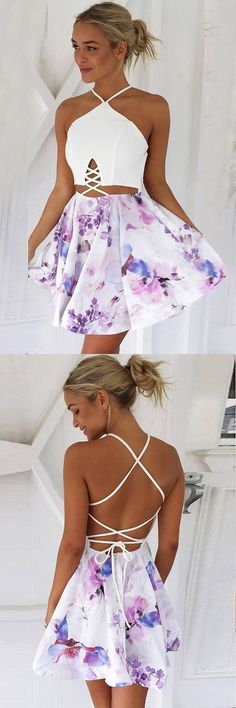Criss-Cross back homecoming party dresses, short halter floral dresses, cut out fashion gowns, semi formal dresses, teen fashion