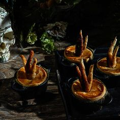 For Halloween, the Impatient Foodie crafts a tale of witches deep in the forest, who feast on bug brittle and bloody beet soup. Halloween Dinner, Holidays Halloween, Halloween Treats, Halloween Party, Halloween Recipe, Halloween 2020, Halloween Decorations, Witch Party, Halloween College