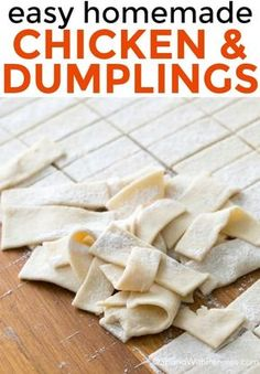 chicken and dumplings recipe! It's easy to make and so delish! Homemade dumplings are simmered in a flavorful chicken broth. Homemade Chicken And Dumplings, Homemade Biscuits, Chicken Pastry Recipe Homemade, Recipe For Chicken And Dumplins, Chicken Dumpling Soup, Soup Recipes, Chicken Recipes, Cooking Recipes, Restaurant