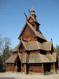 Stave Church - Oslo, Norway. Haha just like the one in Epcot!