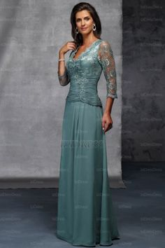 d636c3885af 2015 Hot Sale Half Sleeves Chiffon Mother Of The Bride Dress V neckline  Empire Waist Pleat with Lace Mother Of The Bride Dress for Wedding