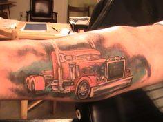 Big rig tattoo anyone ?! Awesome ! #tattoo #trucking www.crcint.com