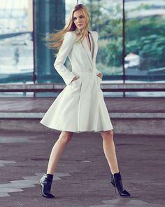 Alexander McQueen Double-Layer Lapel Coat Dress