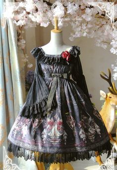 The Kingdom of Fairies~ Lolita Hime Sleeve OP Dress With Back Open Design Short/Long Version $159.99 - My Lolita Dress