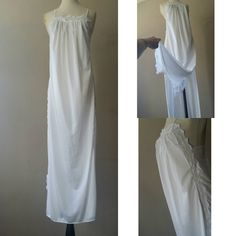 S   70 s Nightgown Slip Dress Lingerie   White Nylon with Lace   Long   by  Undercover Wear   Small   FREE USA Shipping. Vintage Nightgown ... d93e00e06