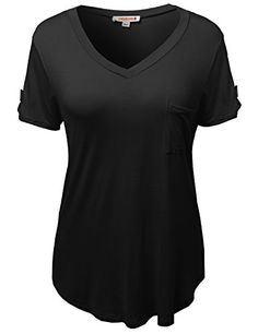 f9a81fab Plus4u Women's Basic Soft Stretchy Jersey Vneck Short Sleeve Plus Size Tops  *** Details