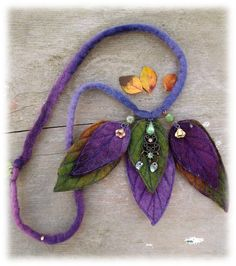 Felted+Leaf+Necklace+by+folkowl+on+Etsy,+$30.00