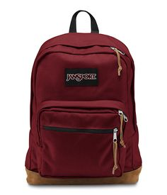 The new classic JanSport Viking Red Right Pack backpack from the features a laptop sleeve and the signature suede leather bottom.