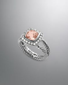 Petite Albion Ring with Morganite and Diamonds by David Yurman at Neiman Marcus.