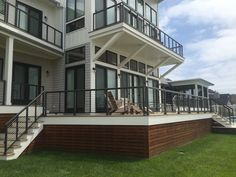 Bronze Cable Rail | Oak Construction | Rehoboth Beach Stainless Steel Cable Railing, Cable Railing Systems, Rehoboth Beach, Stairs, Bronze, Construction, Mansions, House Styles, Home Decor
