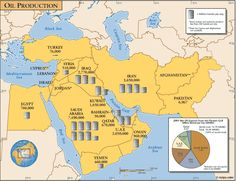 This is a map of the oil production in the Middle East. This relates to ECONOMICS because it shows the production of oil.