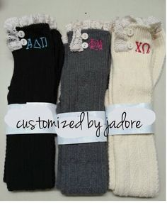 Monogrammed boot sock by CUSTOMIZEDBYJADORE on Etsy, $36.00