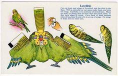 Lovebird print cut out assemble paper toy Paper Birds, 3d Paper, Paper Toys, Paper Animals, Vintage Paper Dolls, Paper Models, Printable Paper, Doll Toys, Prints