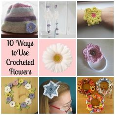 10 ways to use crocheted flowers. Here are 10 suggestions for using crocheted flowers, from embellishing a hat to making them into earrings. Tea and a Sewing Machine www.awilson.co.uk