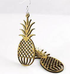 Pineapples - Laser Cut Wood Earrings