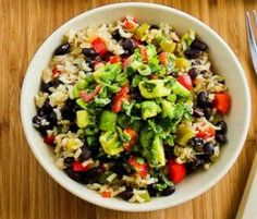 All my favorite things! Meatless Monday: Vegan Brown Rice Bowl with Black Beans and Poblano-Avocado Salsa (courtesy of Kalyn from Kalyn's Kitchen on BlogHer)