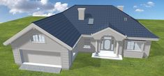 Projekt Dom na Parkowej 6 121,67 m2 - koszt budowy 239 tys. zł - EXTRADOM 3 Bedroom Bungalow, Building A House, House Plans, Shed, Villa, Outdoor Structures, House Design, How To Plan, Architecture