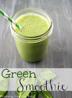 Healthy Green Smoothie - Yummy Healthy Easy yogurt, banana, peaches, strawberries, almond milk, spinach