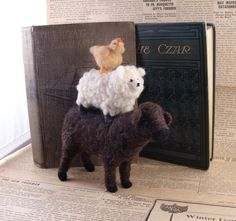 Needle Felted Stack of Animals- Soft Sculpture Needlefelted Chicken, Sheep and Cow Figures by Bella McBride. via Etsy