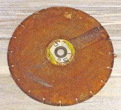 Large Rusty Saw Blade, Metal Art Assemblage, Metal Disc, Industrial Decor, Rusty Urban Decor, Metal Sculpture,  Altered Art #2-10 by DogFaceMetal on Etsy