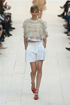 White shorts on the runway.