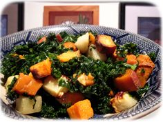Roasted sweet potatoes with turnips and kale.