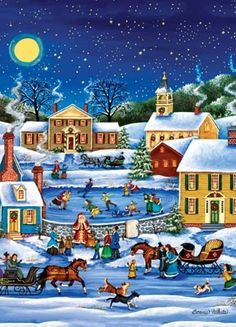 """Santa's Coming To Town"" ~ a 1000 piece Holiday Book Box jigsaw puzzle  from Masterpieces Puzzle Company. Artist: Bonnie White (2011)"