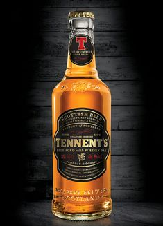 Tennent's Whisky Oak Aged Beer bottle designed by Dynamo.