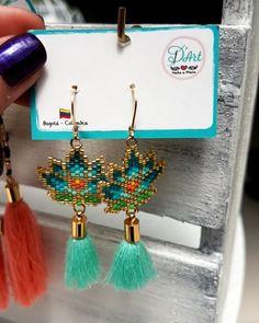 Brick Stitch Earrings, Seed Bead Earrings, Beaded Earrings, Seed Beads, Seed Bead Projects, Beading Projects, Beading Tutorials, Beading Patterns Free, Beaded Bracelet Patterns