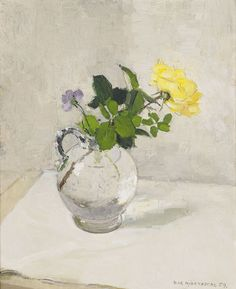 Still Life with Yellow Rose Olle Hjortzberg (1872-1959) #OilPaintingFlowers