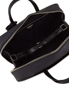 Structured-Leather Zip-Top Tote Bag, Black