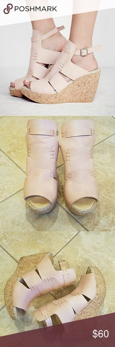 """Free People Vachetta Rose Wedge EUC Super cute high heeled cork platform wedges.  Heel height is 3 3/4"""" but an inch of that is part of platform.  Comfortable.  Buckles around ankle.  Genuine leather.  Only worn once.  No flaws. Free People Shoes Wedges"""