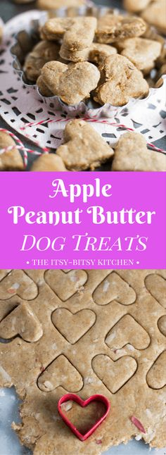 Homemade apple peanut butter dog treats are an easy and healthy way to say I love you to your fur babies recipe via dogtreats peanutbutter homemadedogtreats dogbiscuits Puppy Treats, Diy Dog Treats, Healthy Dog Treats, Soft Dog Treats, Sweet Potato Dog Treats, Dog Treats Grain Free, Apple And Peanut Butter, Peanut Butter Dog Treats, Homemade Dog Cookies