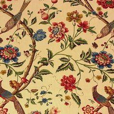 G P & J Baker ELINORS CHINESE CREAM/BRICK Fabric