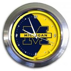"Michigan Wolverines Officially Licensed Varsity 14"" Neon Clock"