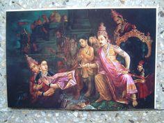 AJIT PALA - Mahabharat Scene (Copy of Raja Ravi verma): OIL ON CANVAS