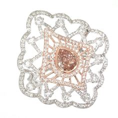 Rosendorff 'Couture Collection' Pink and White Diamond Ring - For the 'Vintage Style' Bride!