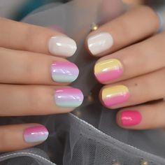 Small Short Children Rainbow Faux Nails – Fake Nail Store Glue On Nails, My Nails, Nail Store, Acrylic Nail Tips, Nail Length, Round Nails, Sparkle Nails, Nail Set, Bridal Nails