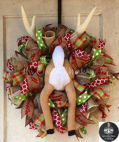 Burlap Christmas wreath burlap wreath reindeer Rudolph deco burlap mesh reindeer booty by MrsChristmasWorkshop on Etsy https://www.etsy.com/listing/251416907/burlap-christmas-wreath-burlap-wreath