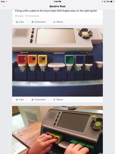 Sara Mason used cubes to help students keep fingers on the right keys...this is brilliant!!!