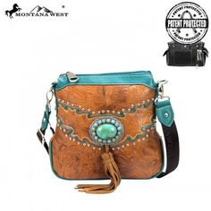 CONCEALED HANDGUN COLLECTION MESSENGER HANDBAG BY MONTANA WEST – BKLN Made of PU leather, this concealed handgun messenger bag has: Concho with genuine leather tassle Floral tooling with silver embellishments A zippered pocket on the back to conceal the handgun A single compartment divided by a medium zippered pocket A zipper enclosure for the entire purse A smaller zippered pocket on the inside back and 2 open pockets on the inside front An open pocket on the back