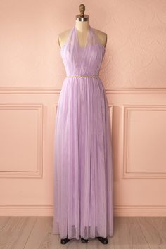 Hermia Lavande - Light purple halter gown with crystals belt