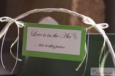 Seifenblasen Korb Kirche Hochzeitsdeko grün Spruch Schild Hochzeit