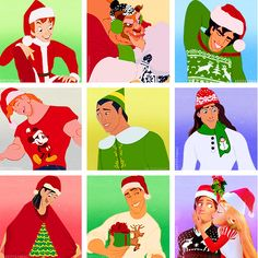 male Disney characters dressed up for Christmas!