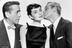 Sabrina saw Audrey Hepburn play the woman at the center of a love triangle with Humphrey Bogart (left) and William Holden (right)